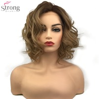 StrongBeauty Synthetic Lace Front Wig Light brown/grey Ombre Hair Medium Curly Natural Wigs