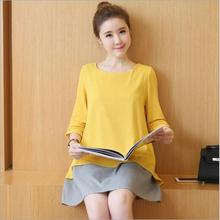 Two Pieces Maternity-dress Fall Winter Maternity Dresses False Pregnancy Clothes for Pregnant Women Clothing Ropa Premama