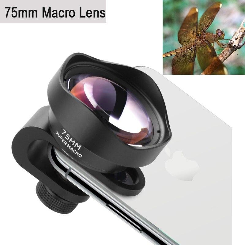 Professionnel Téléphone Camera Lens 75mm Macro Lentille HD Sans Distorsion DSLR Effet Clip-sur pour l'iphone X Samsung s8 Huawei Xiaomi
