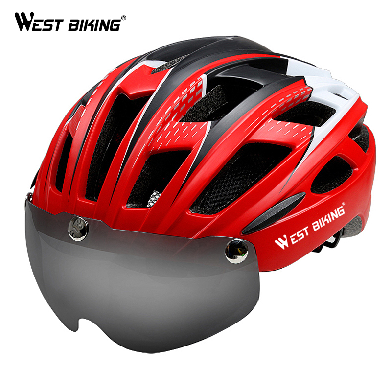 West Biking Bicycle Helmet Sunglasses Cycling Glasses Lens Integrally Molded Men Women 57~62CM Mountain Road Cycling Bike Helmet