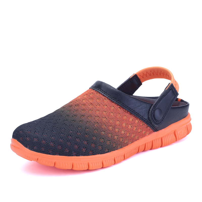 254b1de7e250a 2018 New Breathable Men Mesh Lighted croc Shoes Outdoor Slip On Shoes Beach  Flip Flops Men s Summer Shoes Sandals half slipper-in Beach   Outdoor  Sandals ...