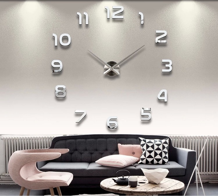 Creative Big DIY 3D Digital Mirror Sticker Wall Clock Modern Art Clocks Watch Unique Gifts Home Decoration Freeshipping - LY gifts store