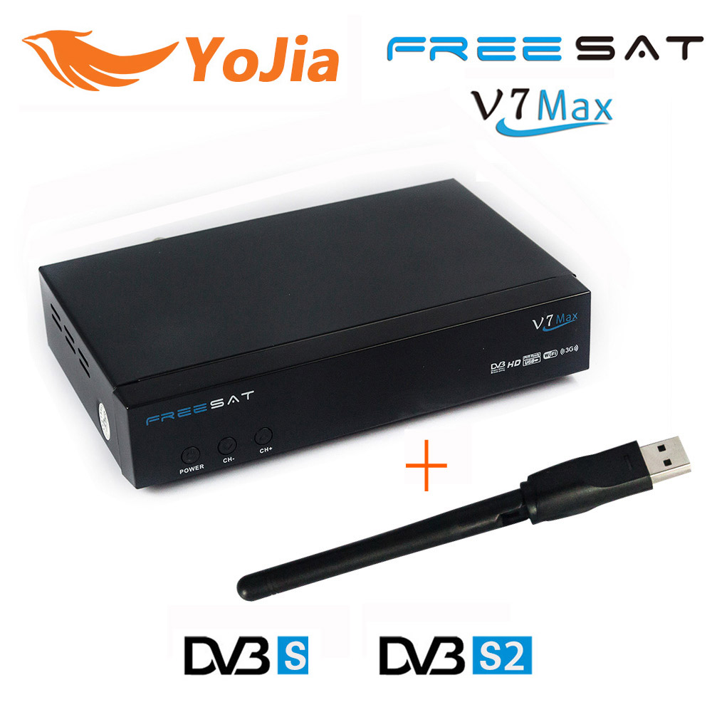 Original Freesat V7 Max DVB-S2 Satellite TV Receiver +1pc USB Wifi Support 1080p Full HD PowerVu Biss Key Youporn Set Top Box hellobox gsky v7 5pcs hd powervu autoroll iks ccam dvb s2 receiver tv box better than freesat support tandberg patch