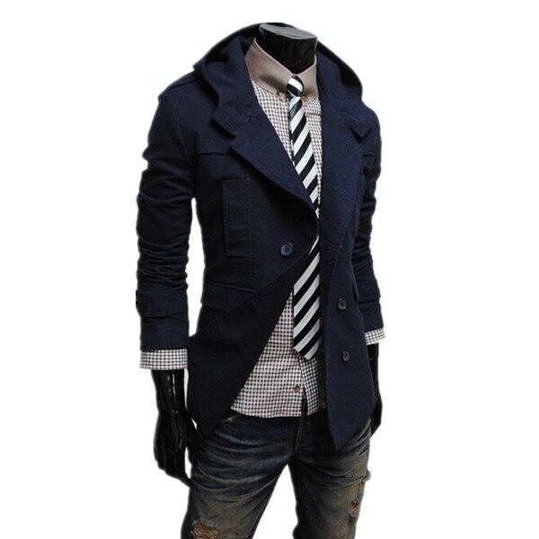 cachi Casual Cappuccio Modo Coat Con Nero Petto 2015 Solid Caldo Di Blue  Trench Il Slim Design Uomini E Autunno Inverno ... 14bedead131