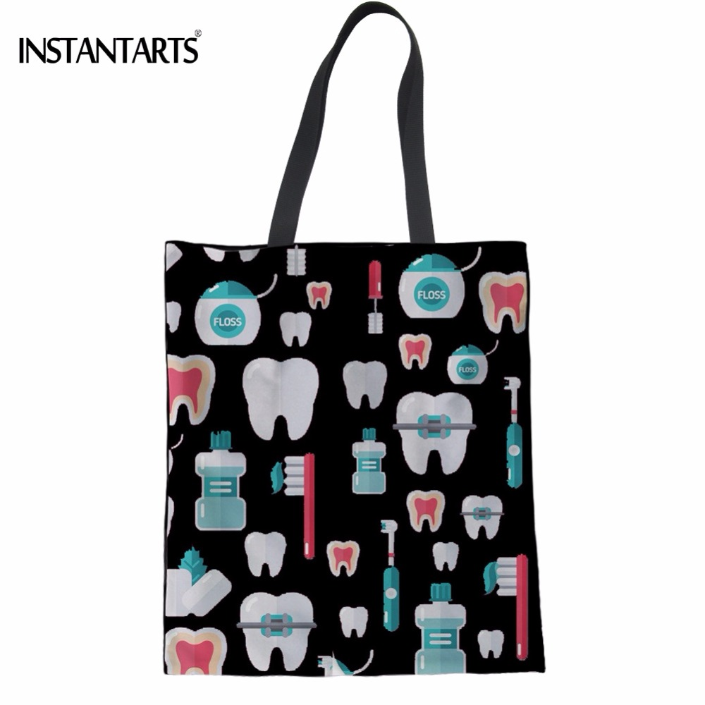 INSTANTARTS Cute Cartoon Dentist/Teeth Print Women Shopping Tote Bags Large Black Eco Bags Fashion Foldable Cloth Reusable Bags