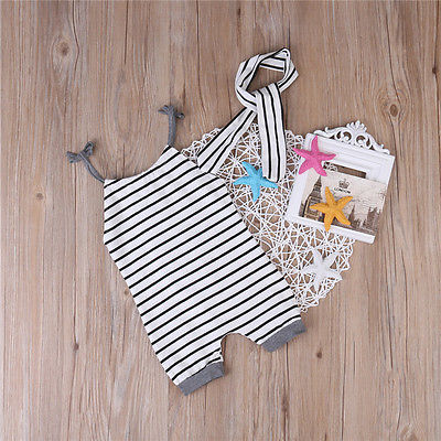 2pcs Baby Set Newborn Toddler Infant Baby Boy Girl Clothes Summer Sleeveless Striped Belt T-shirt Tops+Headband Baby Outfits