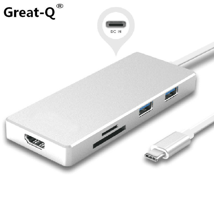Great-Q USB 3.1 Type-C USB-C to HDMI & Multiple Dual Ports 3.0 Hub & TF SD Card Reader & Power For PC Laptop & Macbook ssk scrm 060 multi in one usb 2 0 card reader for sd ms micro sd tf white