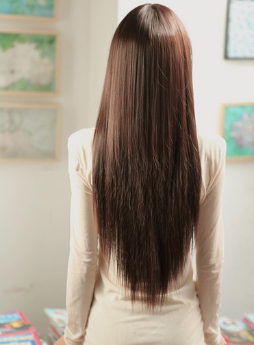 Cute Girls Fashion Style Long Straight Hair Full Wigs Brown Black On