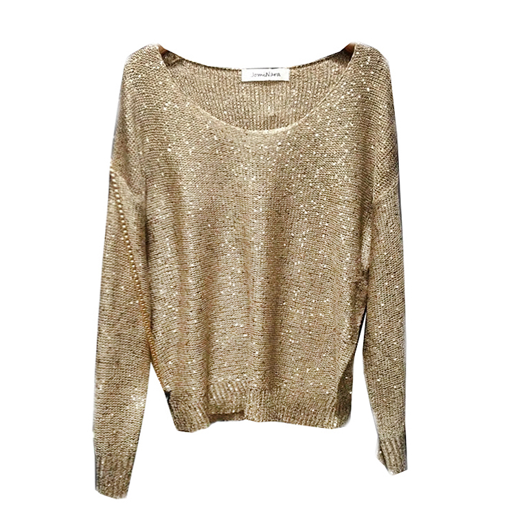 Hot gold lurex Knit Tops Women Sequined Sweaters Long Sleeve Big O-neck Casual Loose Embellished Girls Jumpers 12 colors girl