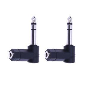 2 Stuks 3.5 Mm Trs Connector Converter Aux Hoofdtelefoon Kabel 90 Graden 3.5 Tot 6.35/6.5 Mm 1/4