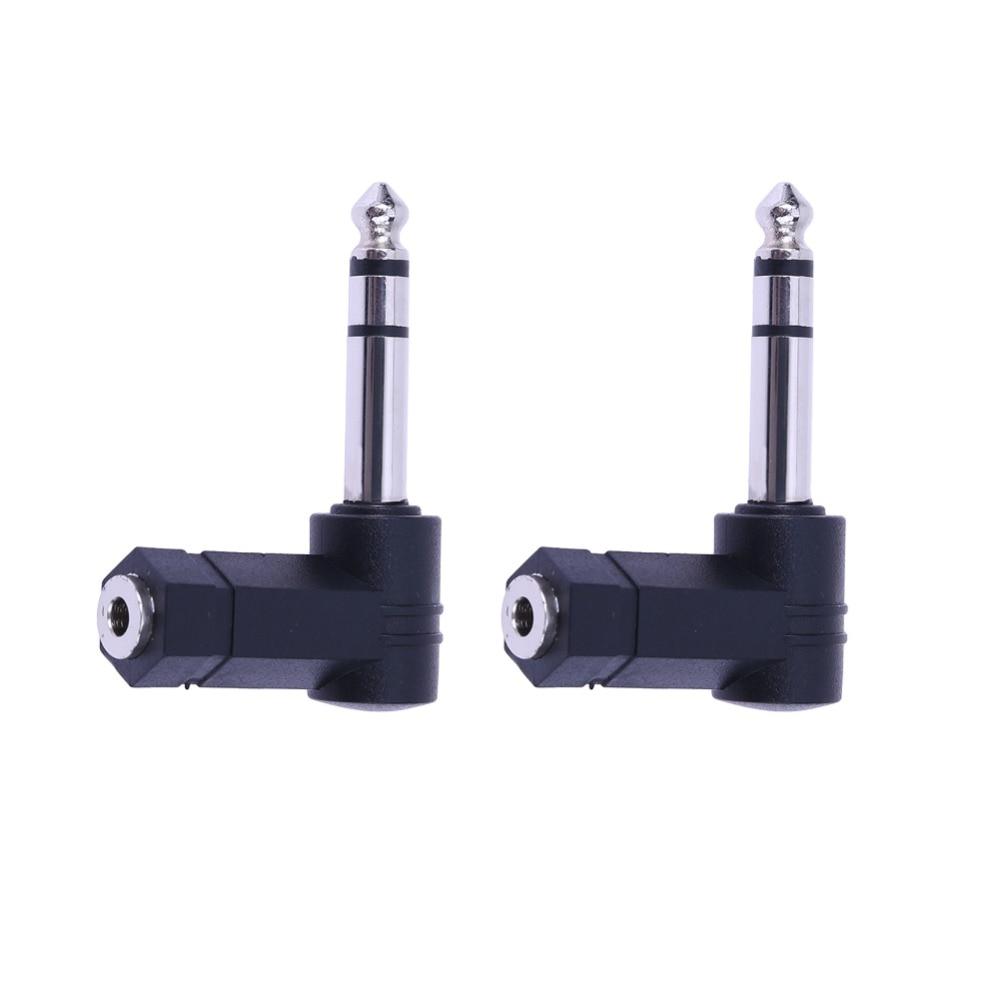Convertidor de conector TRS de 3,5mm 2 uds., Cable auxiliar para auriculares de 90 grados, 3,5 a 6,35/6,5mm, conector de entrada Mono de 1/4