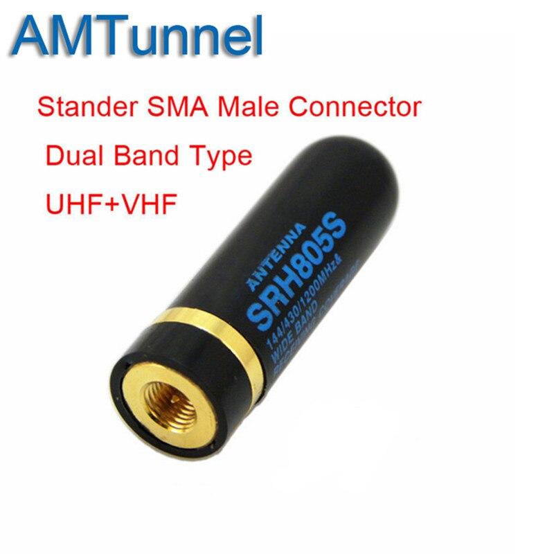 SRH805S Dual Band UHF+VHF Antenna SMA Male For Baofeng UV3R UV100 LINTON LT6100 LT6188 YAESU Vertex VX-6R Radio