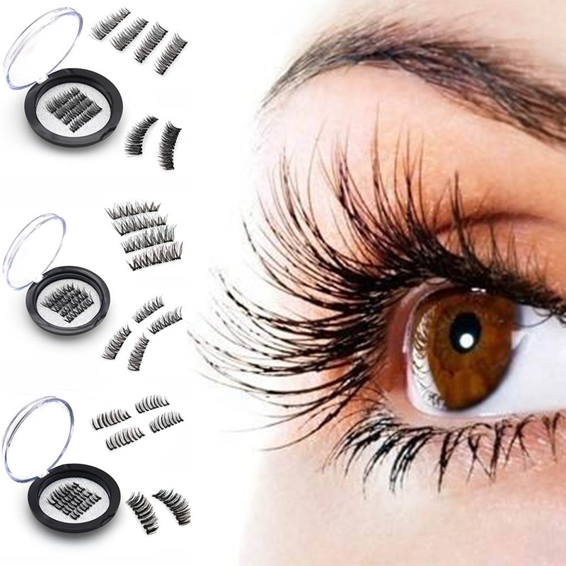 Magnetic Eyelashes With 3 Magnets Handmade 3D/6D Magnetic Lashes Natural False Eyelashes Magnet Lashes Can Dropshipping