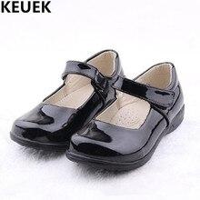 Nova primavera/outono apartamentos sapatos de dança meninas princesa casual hook & loop patente couro crianças escola uniforme sapatos preto 03