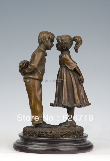 Atlie 100 Handmade Bronze Boy And Statues Puppy Love For Valentine S Day Gift