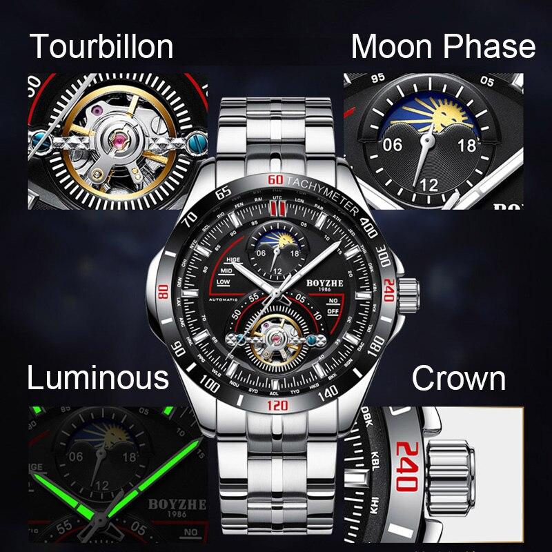 BOYZHE hombres automático mecánico moda superior marca deporte relojes Tourbillon Luna fase reloj de acero inoxidable - 4