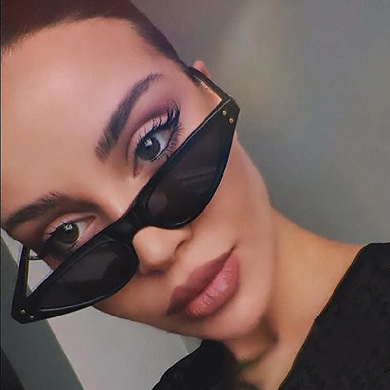 1937392e83ca5 Cat Eye Rivet Sunglasses For Women Retro Triangular Glasses Classic Brand  90 s Small Shades Skinny Narrow Sun Glasses Sexy Gafas