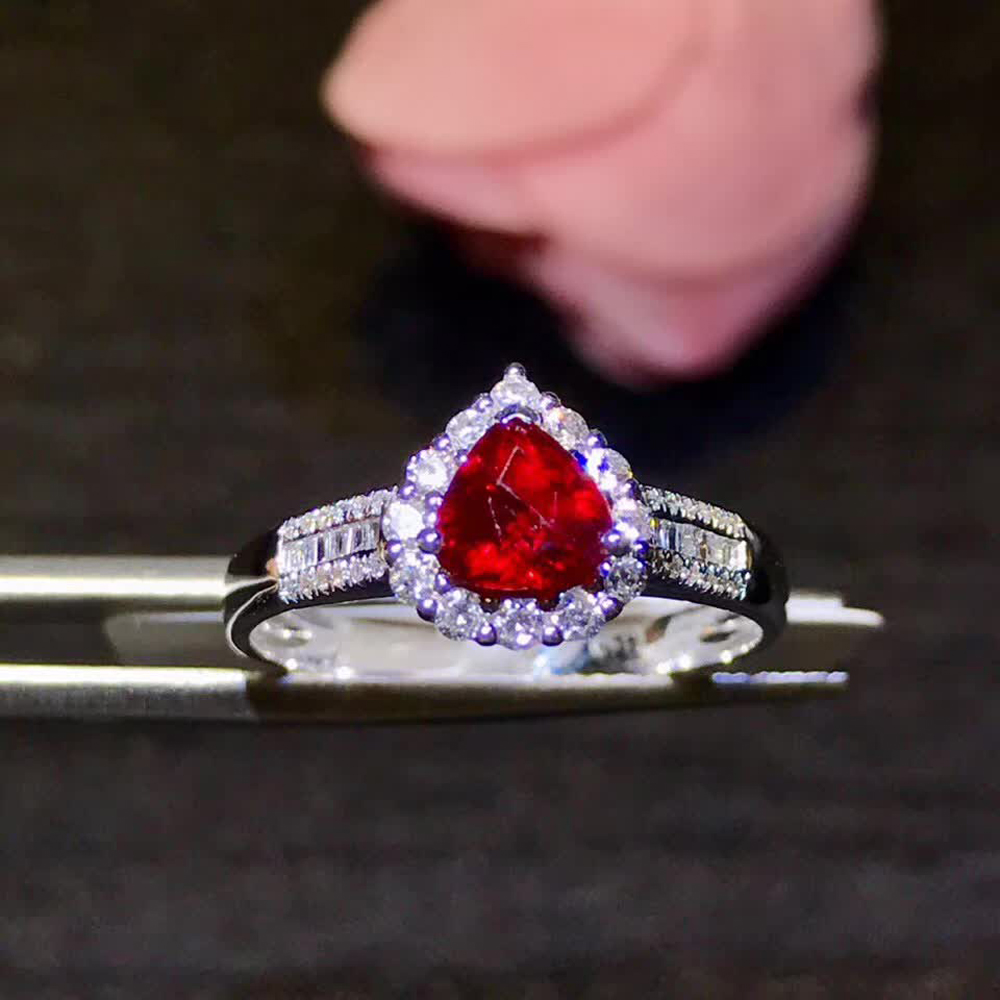 Natural African Ruby Wedding Ring 925 Sterling Silver Fine Jewelry Christmas New Bridal & Wedding Party Jewelry