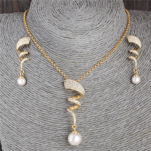 Vintage Imitation Pearl necklace Gold jewelry set for women Clear Crystal Elegant Party Gift Fashion Costume Jewelry Sets 1