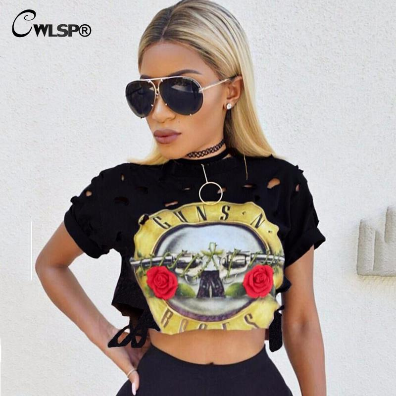 CWLSP2018 Sexy Hole Women T Shirt Guns N Roses Print Crop Tops Hollow Out Short Tee Shirt Camisa Feminina Punk Streetwear QA1223