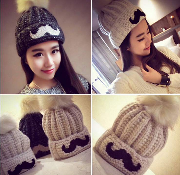 2016 New Fashion Woman's Warm Woolen Winter Hats Knitted Fur Cap For Woman Sooner State Letter Skullies Beanies 5 Color Gorros 2016 new fashion letter gorros hats bonnets