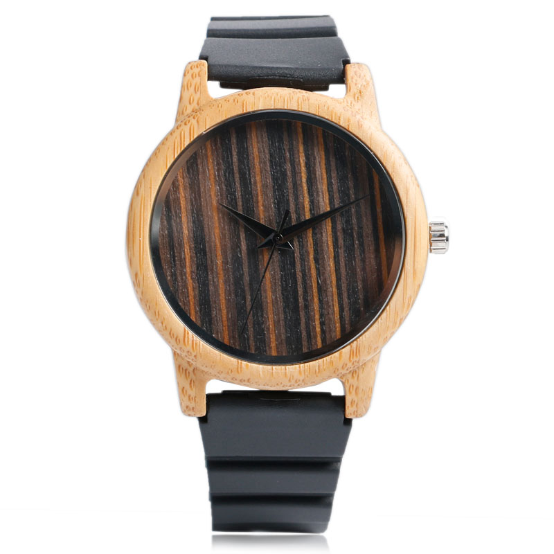 New Arrival Novel Handmade Casual Men Quartz Analog Cool Nature Wood Silicone Band Strap Women Bamboo Wrist Watch Silicone Gift simple handmade wooden nature wood bamboo wrist watch men women silicone band rubber strap vertical stripes quartz casual gift page 8