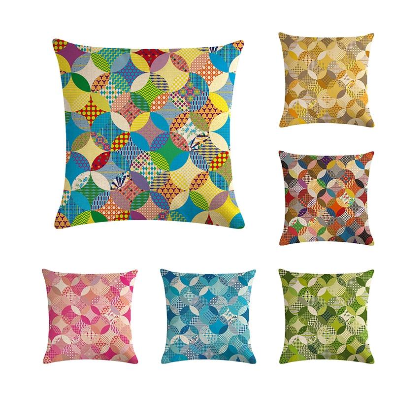 Cotton Print Round Geometric Pattern Sofa Cushion Cover