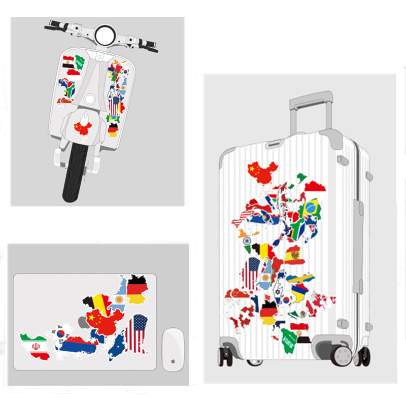 Image 5 - 50 Pcs National Flags Stickers Mixed Vinyl Countries Map Travel Sticker Motor Suitcase Deco Mixed For MacBook 11 12 13 15 15.6-in Laptop Skins from Computer & Office
