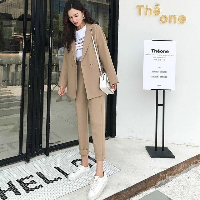 BGTEEVER  Casual Solid Women Pant Suits Notched Collar Blazer Jacket & Pencil Pant Khaki Female Suit Autumn 2019 high quality 3