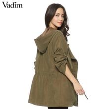Women hooded long trench casual loose long sleeve solid coats casaco feminine Adjustable Waist street wear tops CT1083