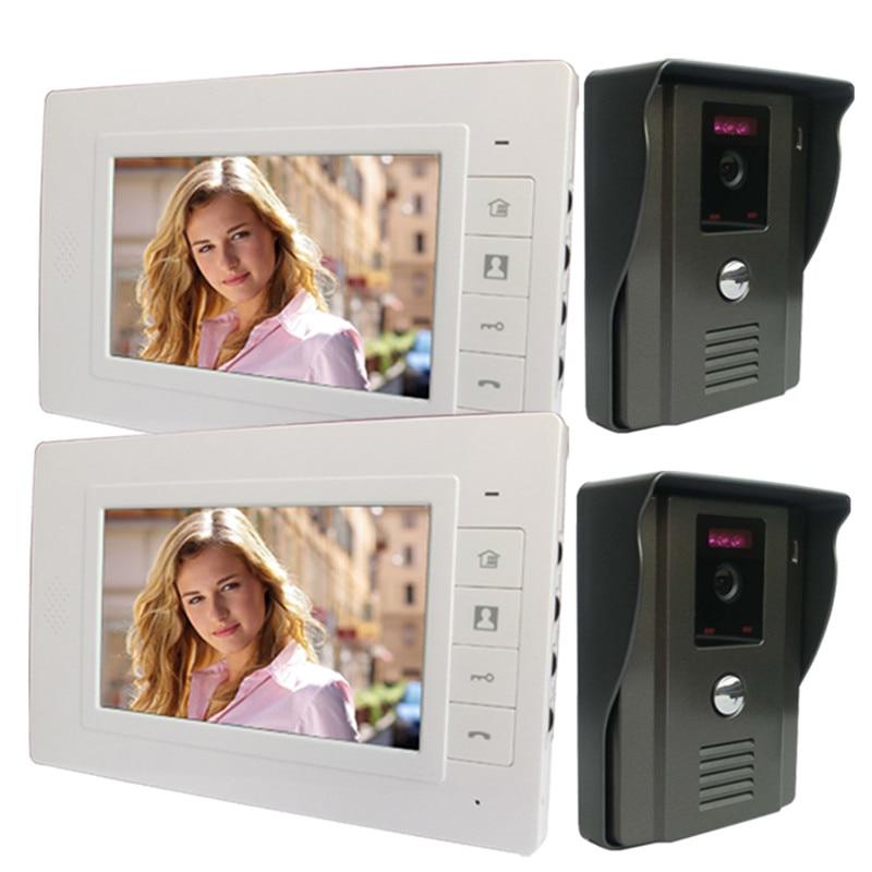 """Hartig Dhl Gratis Verzending 7 """"lcd Video Deurtelefoon Intercom Deurbel Met 2 Nachtzicht Ir Security Camera 2 Monitor Regendicht De Mondholte Schoonmaken."""