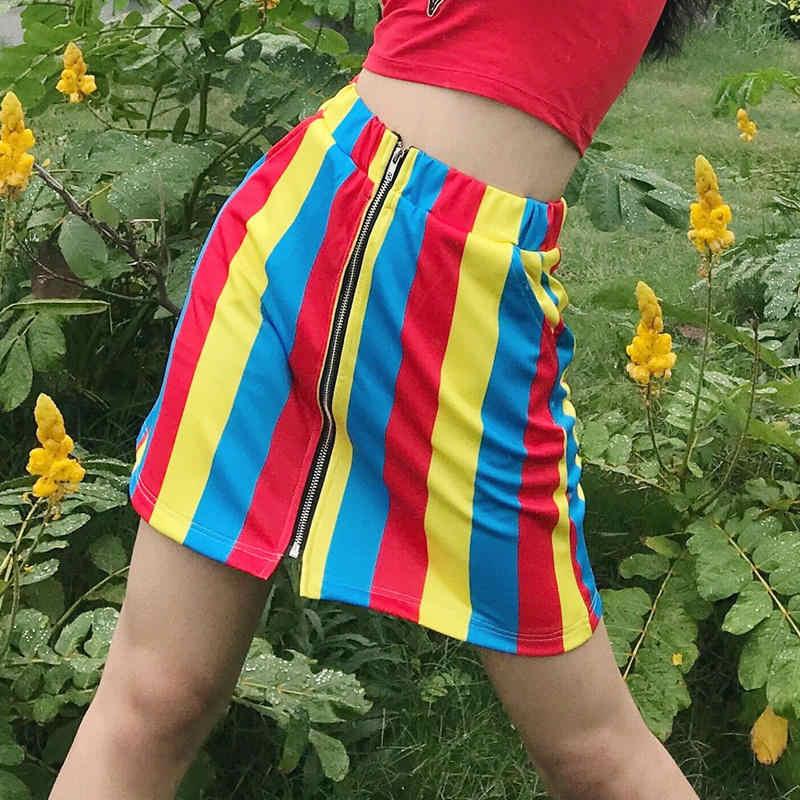 Новая Милая полосатая разноцветная винтажная мини-юбка в стиле Харадзюку с завышенной талией и радужным принтом для девочек 90s Femininas, праздничные юбки для отдыха