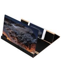 3D Phone Video Screen magnifying glass Folding Bracket Christmas Gifts 12 Inch Desktop Wood Bracket Stereoscopic Amplifying Office & School Supplies
