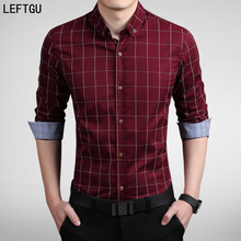Новые 2017 мужские Рубашки мужские Случайные бренд slim fit дизайнер полосатый Плед Рубашки Азиатский размер: M ~ 5XL camisa masculina