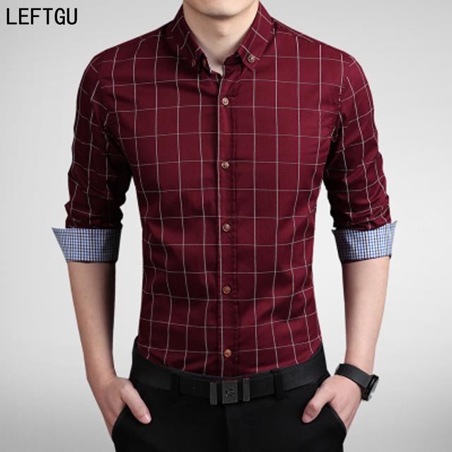 Nuevo 2017 Camisas de Los Hombres Casual marca slim fit diseñador rayado de la Tela Escocesa Camisas de los hombres tamaño Asiático: M ~ 5XL camisa masculina
