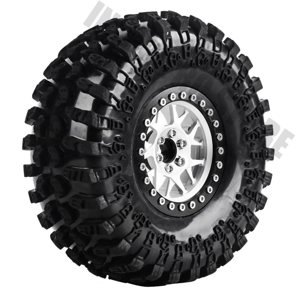 4PCS Set RC Car Rubber Tire 2 2 Wheel BEADLOCK Metal Alloy Rim for 1 10
