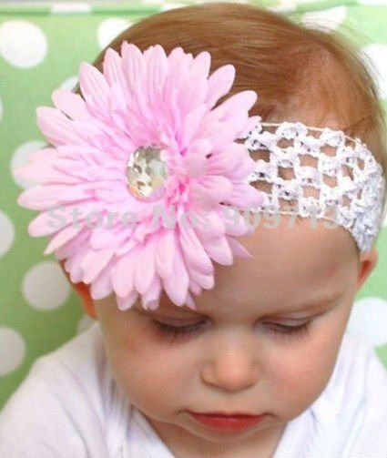 Free Ship Seasonal Crochet Headbands96pcslot Gerbera Daisy Flower