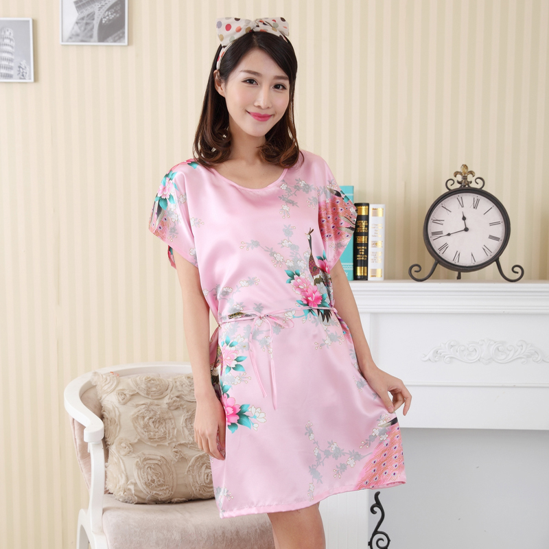 New Arrival Pink Print Lady Robe Gown Summer Silk Rayon Short Home Dress Sexy Charming Lingerie Flower Sleepwear One Size A154