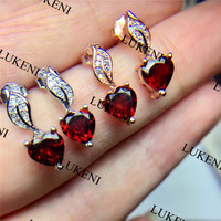 Red Garnet 6mm Birthstone Stud Earrings Solid 925 Sterling Silver Jewelry Fashion Girl Birthday Gift