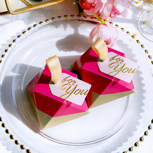 Image 2 - New Rose Red Diamond Shape Candy Box Wedding Favors and Gifts Box Party Supplies Paper Gift Chocolate Boxes Packages