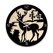 European creative elk Christmas decoration wall clock Hot home living room wooden hangings