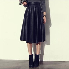 Europe Style Long Skirt Women New Winter PU Leather Skirts Female Fashion Slim A-Line Black Umbrella Skirt C1221