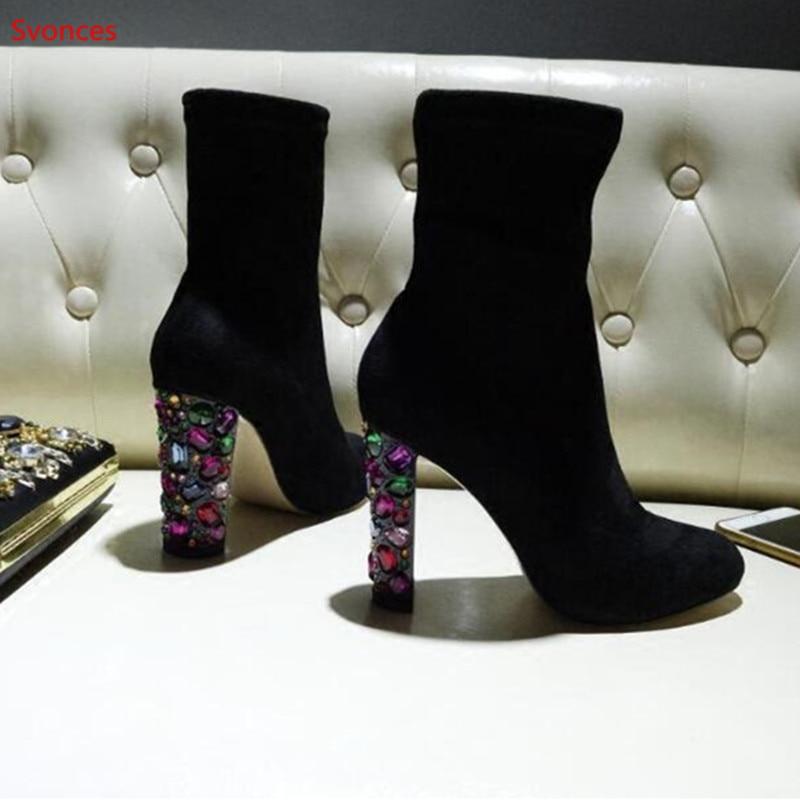 Zapatos Cuadrado Primavera Otoño Cristal Colorido Kid Tacón Lujo Botas Pointed Botines Toe Suede Femeninos Mujeres Diseño Slip Picture As On xPYwx1F