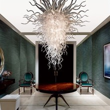 Custom White Chandelier Lighting 38 Inches Modern Hand Blown Glass for New House Decoration
