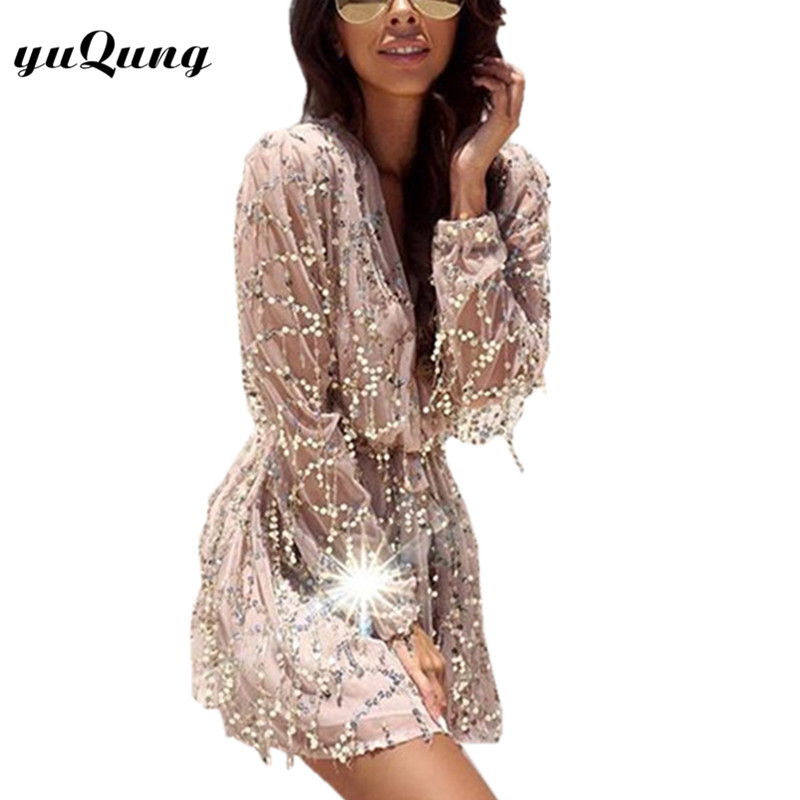 yuqung long sleeve party glitter dresses for women ladies