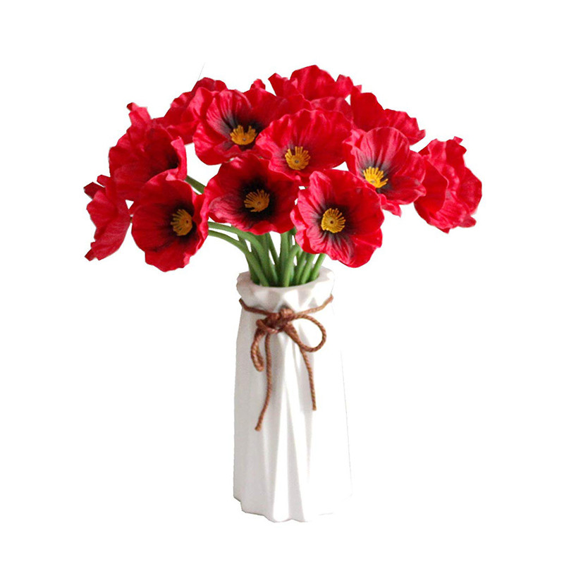 Red Realistic Artificial Fake Poppies Flowers Bouquet Arrangements