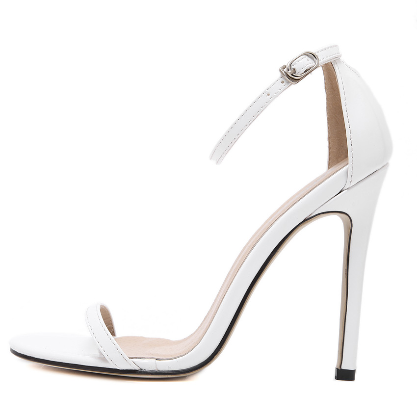 2019 women 39 s shoes sandals sexy thin high heeled peep toed cover heel woman shoes Buckle Red nude black white wedding shoes35 43 in High Heels from Shoes