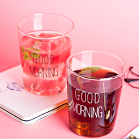SPSCO 2pcs Glass Cups 400ml Brief Style Good Morning Glass Breakfast Glassware Lovely Cups Mugs For