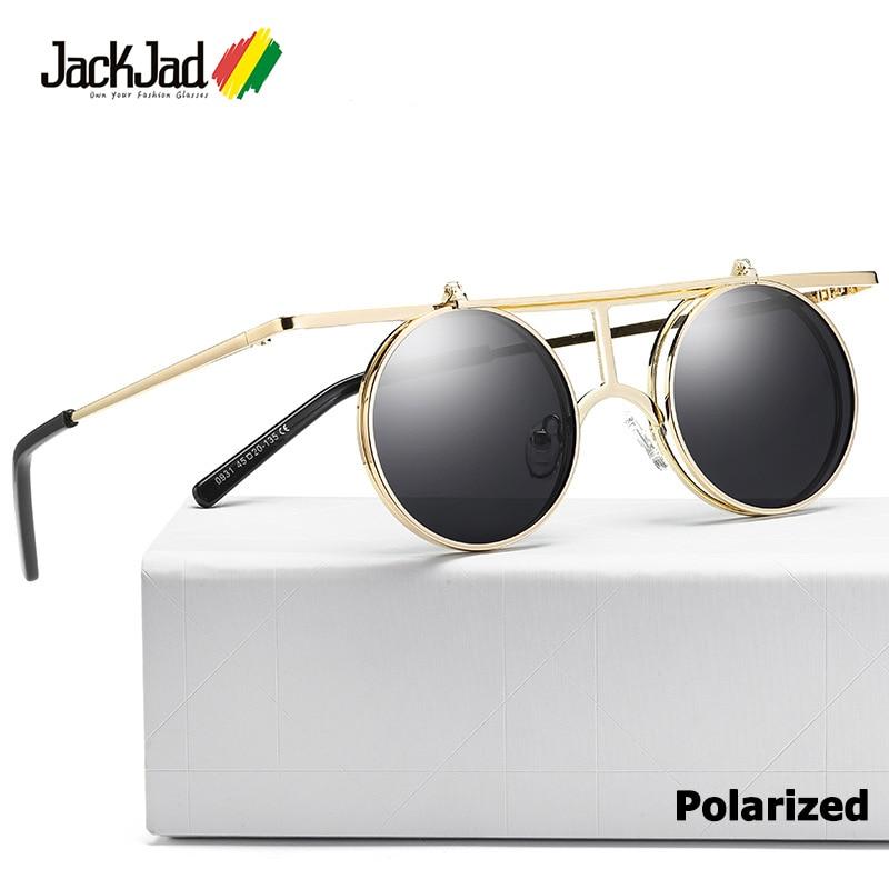 6eba78f3f6d20 JackJad 2018 Flip Up Lens Gothic SteamPunk Style POLARIZED Sunglasses  Vintage Brand Design Clamshell Sun Glasses Oculos De Sol-in Sunglasses from  Men s ...