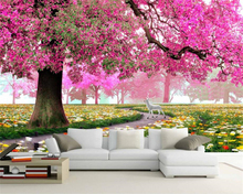 Beibehang Custom Wallpaper Flower Sea World Cherry Tree Background Wall House Decoration Living Room Bedroom Mural 3d wallpaper free shipping european classical oil painting flower sea living room bedroom wallpaper 3d custom exhibition office gallery mural